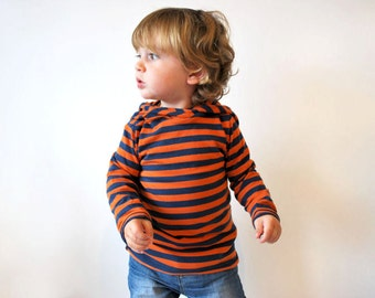 SALE - Baby striped hoodie 12-18mth orange blue  toddler clothing childrens hooded sweater kids jumper purple striped elf pixie pointed hood