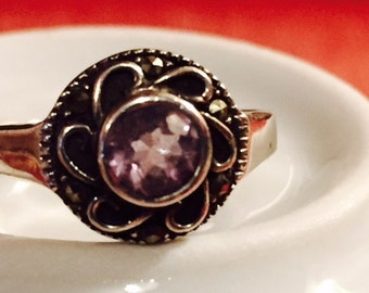 Ring, Silver and Amethyst, Vintage -- VK292