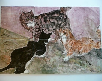 Handpainted Ceramic Tile Cat Mural