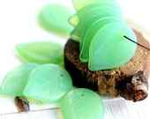 Opal Green leaf beads, big size leaves, czech glass beads, flat, large, pressed beads - 18mm - 12Pc - 2080