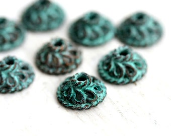 9mm Copper Bead cap, Patina on copper caps, greek metal casting, Lead Free, patinated findings, jewelry making, 6Pc - F196
