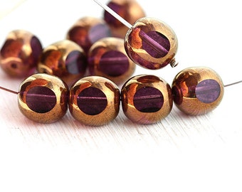 Purple beads with luster, czech glass beads, fire polished, round cut - 10mm - 10Pc - 2088