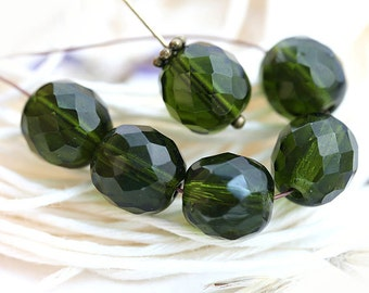 10mm Dark Olive Green Czech glass beads, Olivine fire polished round faceted beads - 6Pc - 0864