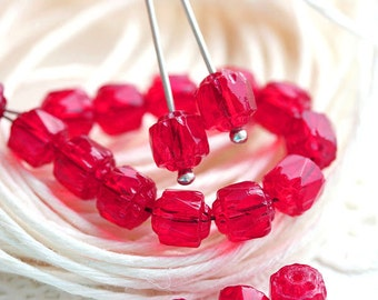 Red cathedral beads, czech glass beads, round, fire polished, red beads - 6mm - 20Pc - 2171