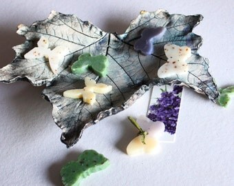 Blue Plane leaf - Great for any nature lover. Ceramic leaf for many uses including soap dish.
