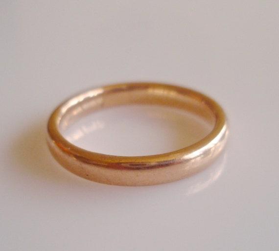 Solid 9ct Rose Gold Plain Wedding Band Ring Size UK O USA 7