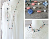Long Bead Necklace: Pink, Blue, Brown, Cream, and Crystal Boho Chic Jewelry with Antiqued Brass, Layering Style, Wire-Wrapped Beach Jewelry