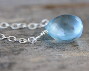 Blue Pendant Necklace: Sky Blue Topaz with Sterling Silver, Polka Dot Briolette, Elegant Jewelry, Simple Layering