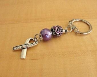 Purple Awareness Key Chain - ADD, ADHD, Alzheimers, Crohns, Epilepsy, Fibromyalgia, Huntingtons, Lupus, Thyroid Cancer, MSA, Leiomyosarcoma