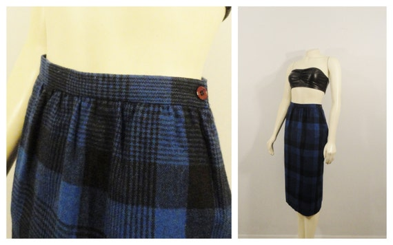 vintage skirt 70s 80s blue black plaid pencil skirt by