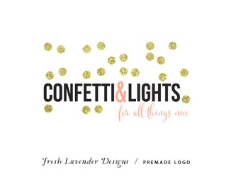 Custom Logo Design  Premade Logo and Watermark for Photographers and Small Business Owners Shabby Chic Confetti Gold Glitter & Blacl