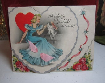 Sweet 1930's die cut silver gilded valentine card to my sweetheart pretty lady in blue ruffled gown petting a fluffy cat pink ribbon