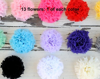 "Chiffon Puff Flowers - Mini Puff Flowers - Chiffon Fabric Flowers - 1 of Each color - 2.25"" Flower - Wholesale Fabric Flowers"