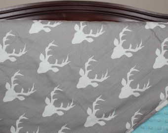Ready to Ship: Buck and Minky Baby Blanket - Deer, Woodland, Christmas Gift, Baby Shower Gift