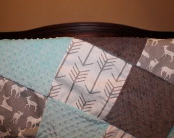 Baby Blanket - Gray Deer, White Gray Arrows, Light Aqua Minky, and Gray Minky Patchwork Baby Blanket