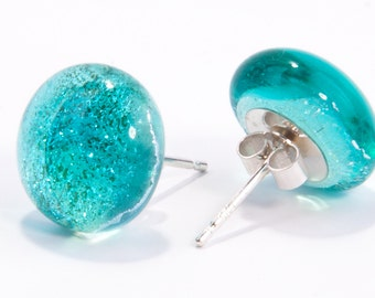 Aqua blue earrings fused glass dichroic studs sterling silver teacher teachers gifts gift present bride bridesmaid glitter mom mum birthday