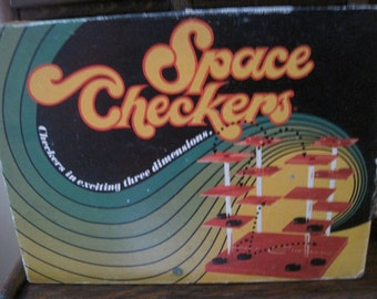 Vintage Space Checkers Game