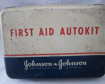 Vintage Johnson &Johnson Industrial Metal FIrst Aid Autokit