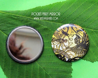 Fairytale Mirror - Pocket Mirror - Fashion Accessory - Giftware - Fairy and Dragonfly
