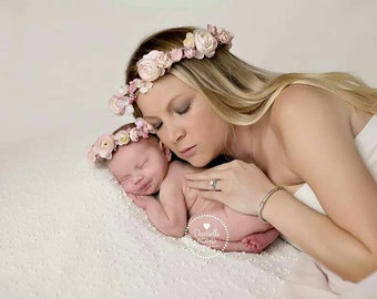 Mommy/Daughter Set: Blush, Creams Pearls Headband Peony Head Halo Baby Newborn Maternity Set of 2 Flower Halos Photo Session Mama Baby