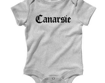 Baby Canarsie Brooklyn Gothic NYC Romper - Infant One Piece - NB 6m 12m 18m 24m - Canarsie Baby - 4 Colors