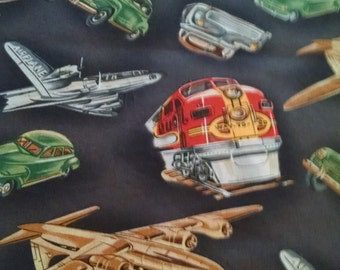 Baby Toddler bedding fitted sheet standard pillowcase train planes cars