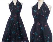 r e s e r v e d // vintage 50s Starburst dress // RARE Atomic Halter Sun Dress by Kay Whitney Full Skirt