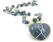 Wire Wrapped Sodalite Heart Pendant Necklace - Sterling Silver - Denim Blue - Statement Necklace - Gemstone Necklace - Artisan Jewelry