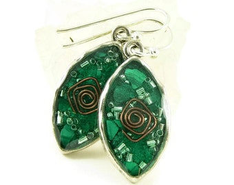 Orgone Energy Earrings - Leaf Shaped Dangles - Green Malachite Gemstone - Positive Energy Generator - Artisan Jewelry