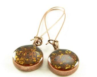 Orgone Energy Earrings - Long Dangle Earrings -Carnelian Gemstone in Copper - Artisan Jewelry