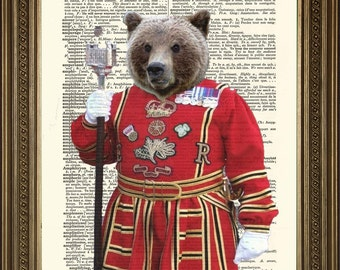 Tower Of London Print BEEFEATER BEAR Fun Grizzly Guard