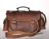 Medium size leather camera bag / Women/Men chestnut leather bag / Photo case / Shoulder bag