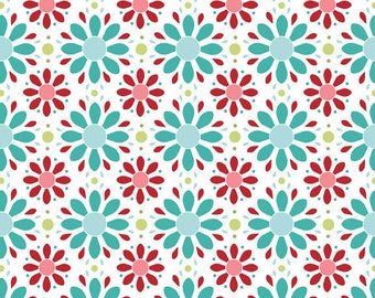 Riley Blake The Quilted Fish Apple of My Eye Flowers Red Blue Fabric, 1 yard