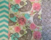 Set of 3 shabby Chic Aqua grey pink and white Baby Girl Burp Cloths Chevron burp cloths Flower burp cloths Bird burp cloths