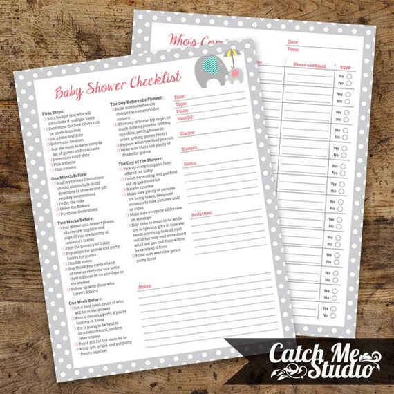 Baby Shower Planner Girl INSTANT DOWNLOAD By CatchMeStudio