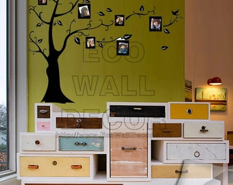 PEEL and STICK Removable Vinyl Wall Sticker Mural Decal Art - Black Tree with Photo Frames