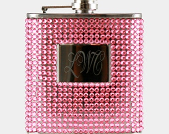 6oz Pink Beaded Hip Flask, Engravable