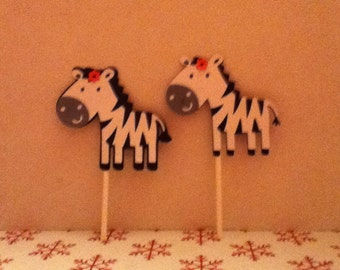 Cute Zebra Cupcake Toppers