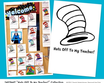 INSTANT Hats Off to our Teachers and Staff Collection - Dr. Seuss Inspired Printables