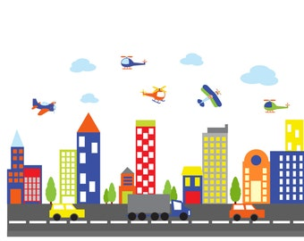 wall decals - Kids wall decals - city decal -  buildings decal - vinyl wall decal - nursery wall decals car truck road