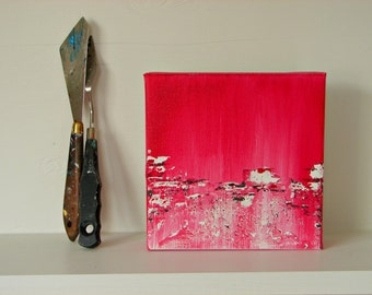 Art Block Home Decor, Modern Contemporary Painting for Her, Pink White, Gray-Present for Girlfriend, Birthday & Anniversary for Her