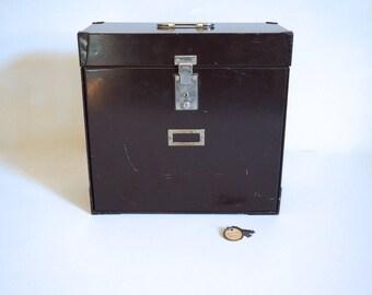 Vintage Industrial Office MYSTRONG File Box Dark Brown Industrial Storage with Key - Floyd Jones Vintage