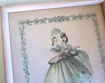 Art Deco Vintage Framed Pink Print of 2 Women Chippy Pink Wooden Frame - Floyd Jones Vintage
