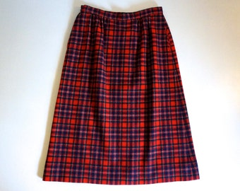 Women's Red Plaid Pendleton Skirt with Pockets Made in USA - Floyd Jones Vintage