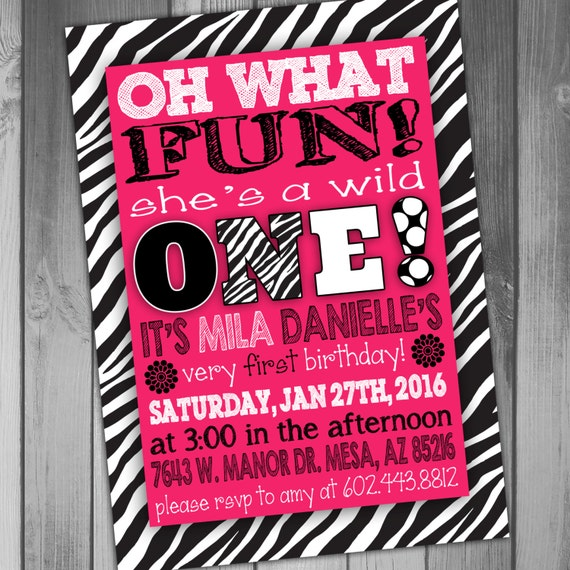 Zebra First Birthday Invitation Hot Pink And Zebra By