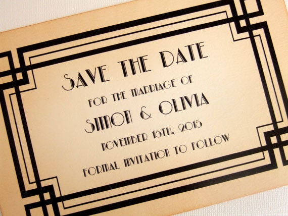 items similar to art deco save the date cards great gatsby save the date cards 1920s save the. Black Bedroom Furniture Sets. Home Design Ideas