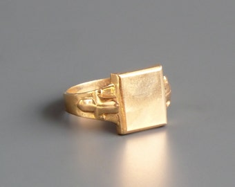 Art Deco Signet Ring. Mens. Minimal. 10K Gold.