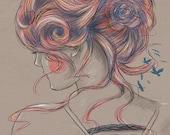 Colourblind .2 // Rainbow hair // Digital Art Print // Fine Art Print // Illustration