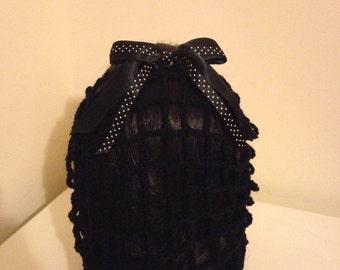 Black crochet snood with black polka dot bow