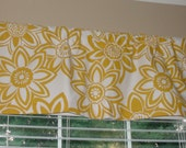 """Big Bloom Yellow Flower Valance 50"""" wide x 16"""" long Lined or Unlined Corn Yellow and White"""